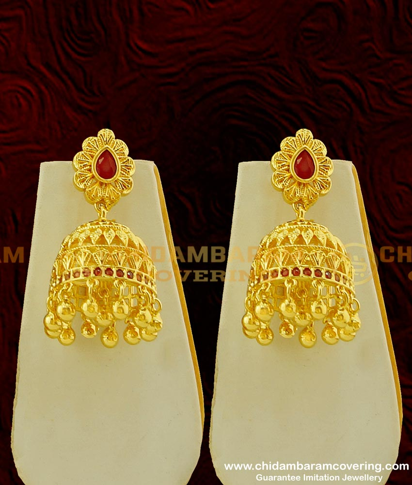 NLC260 - Bridal Wear Real Gold Style Ruby Stone Choker Necklace with Jhumkas Set One Gram Gold Choker for Wedding