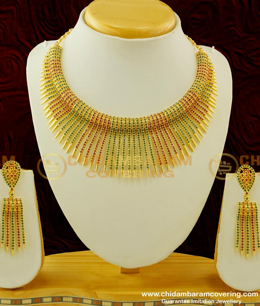 NLC261 - Most Attractive Party Wear Ruby Emerald Gold Plated Choker Set for Wedding Reception