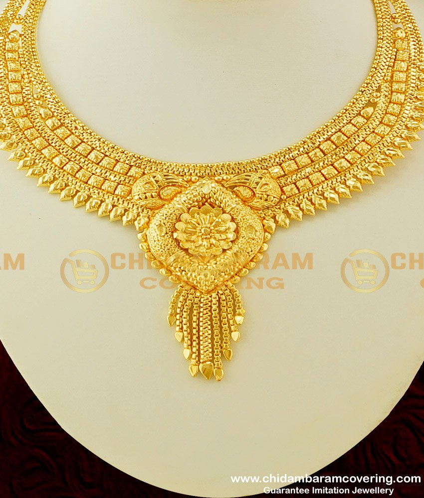 NLC285 - Micro Gold Plated Classic Look Flower Design Necklace For Bride