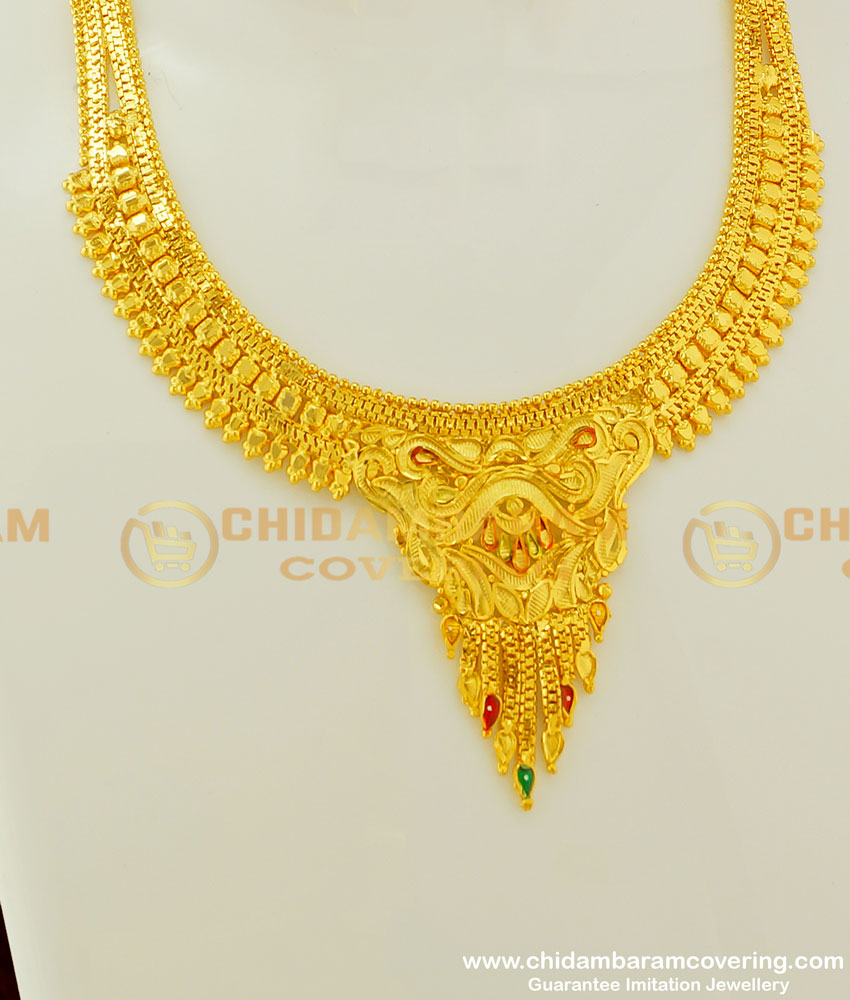 NLC299 - Unique Enamel Gold Necklace Design And Earring Set 1 Gram Gold Forming Jewellery Online