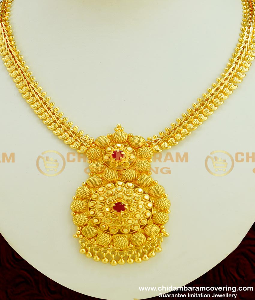 NLC349 - Trendy Ruby Stone Gold Design Flower with Full Mango Necklace Designs