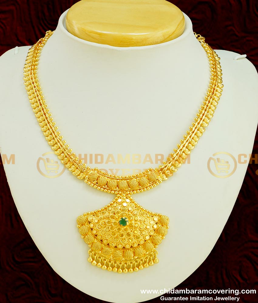 NLC351 - Bridal Wear Emerald Stone Necklace 2 Gram Gold Jewellery Online