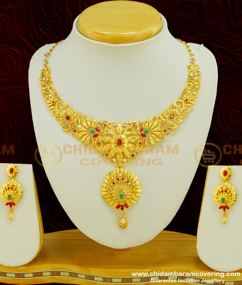 NLC389 - Exclusive Gold Forming Heavy Stone Grand Wedding Choker Type Necklace With Earring Bridal Combo Set Online