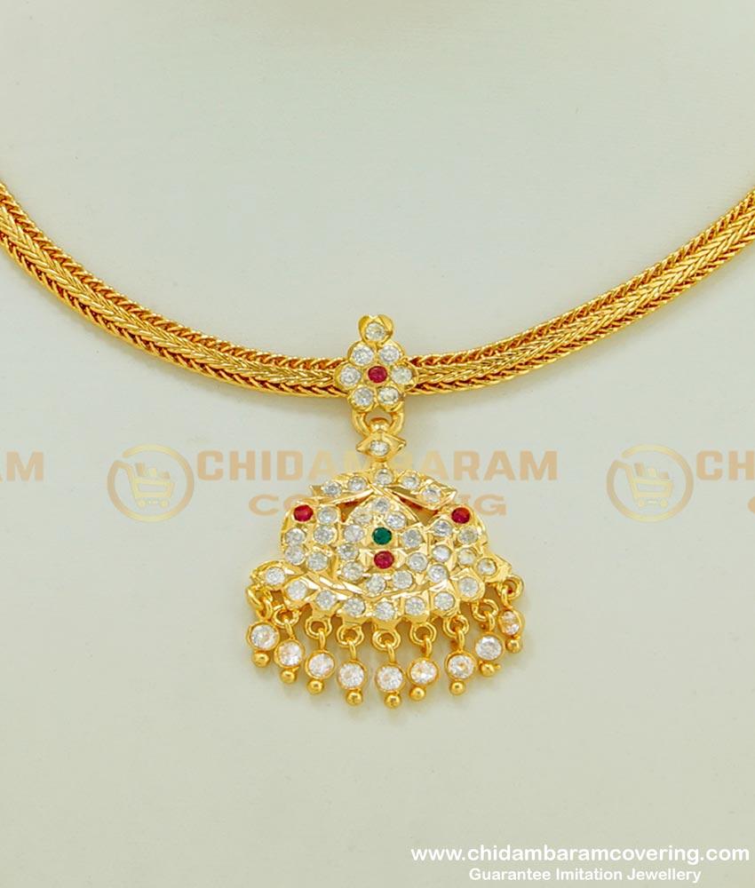 NLC397 - Latest Simple Multi Stone Impon Attigai Necklace Design Impon Five Metal Jewellery Collection