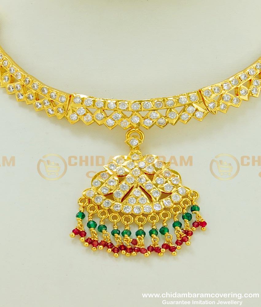 NLC398 - Unique First Quality Gold Finish Multi Stone Impon Attigai Necklace Buy Online