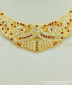 NLC400 - Attractive Impon Pink and White Stone Peacock Design Choker Necklace Imitation Jewellery Wedding Collection