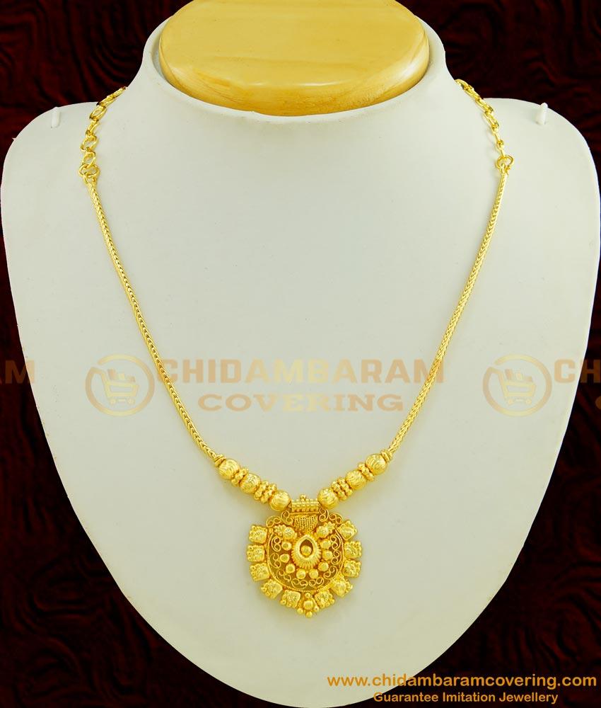 NLC444 - Latest Simple Gold Short Chain Designer Pendant Necklace Designs