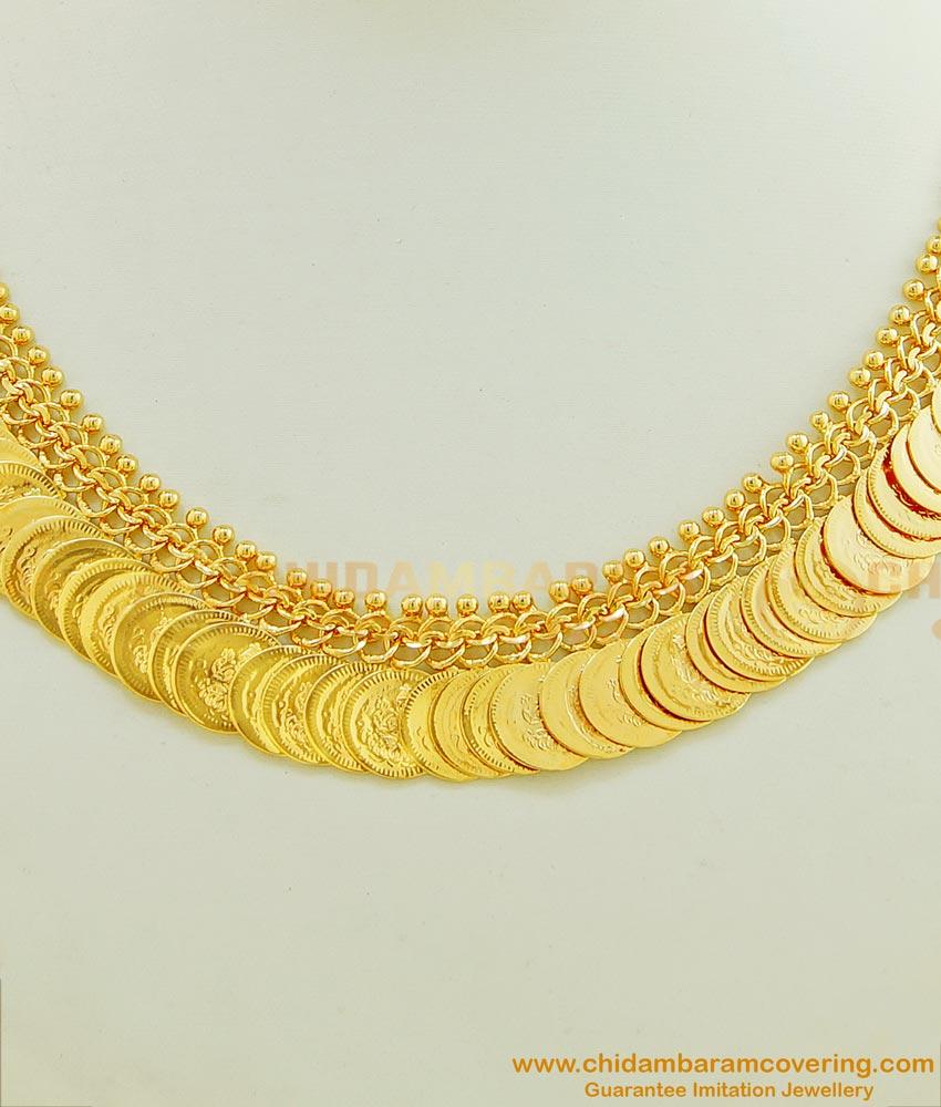 NLC449 - Traditional Gold Plated Lakshmi Kasu Malai Necklace Design for Wedding