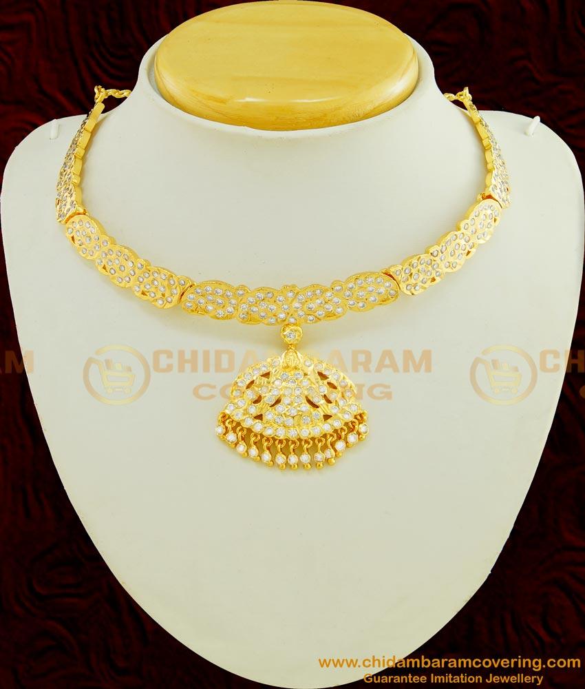 NLC450 - Impon Full White Stone Mango Design with Lakshmi Dollar Attigai Necklace Thick Metal Jewellery Online
