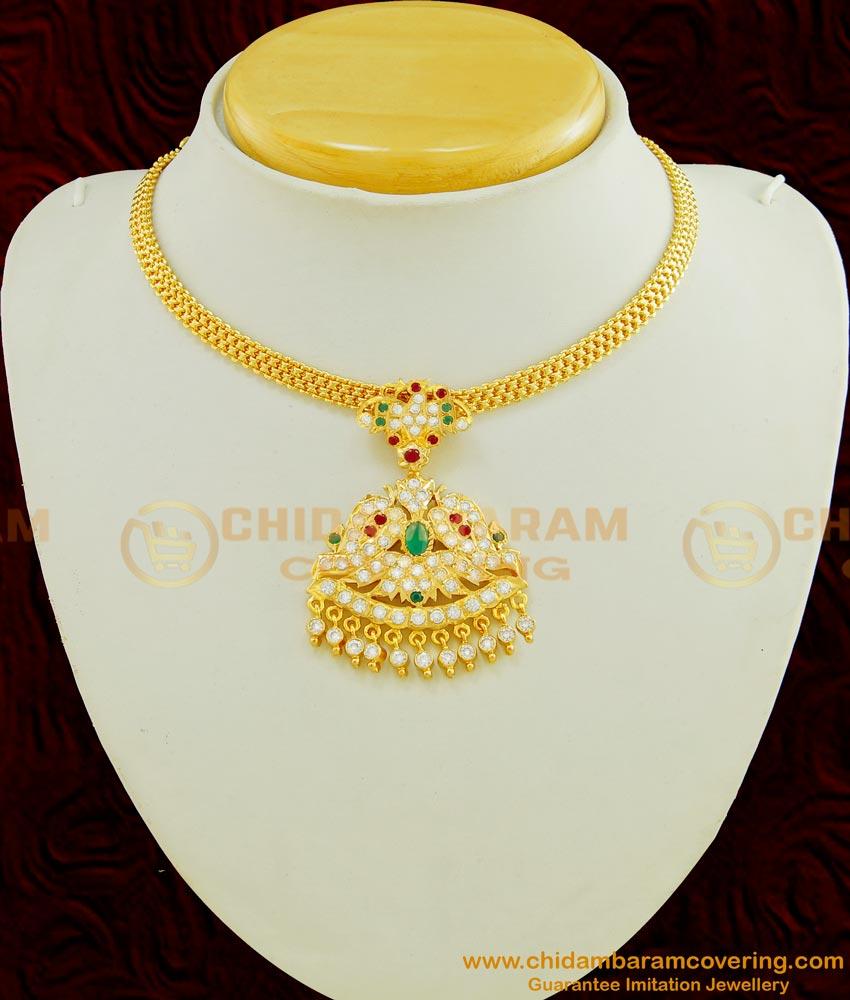 NLC452 - Latest Design Five Metal Beautiful Multi Stone Dollar Attigai Necklace Design