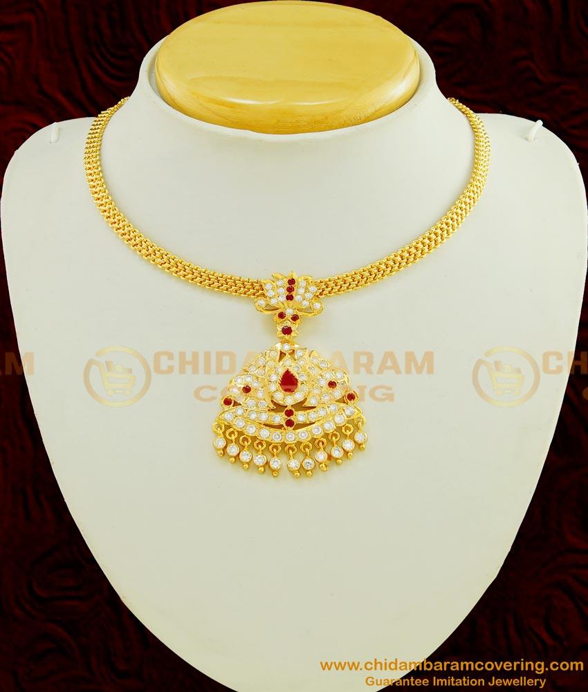 NLC453 - Attractive Bridal Wear Impon Big Pendant Attigai Necklace Buy Online