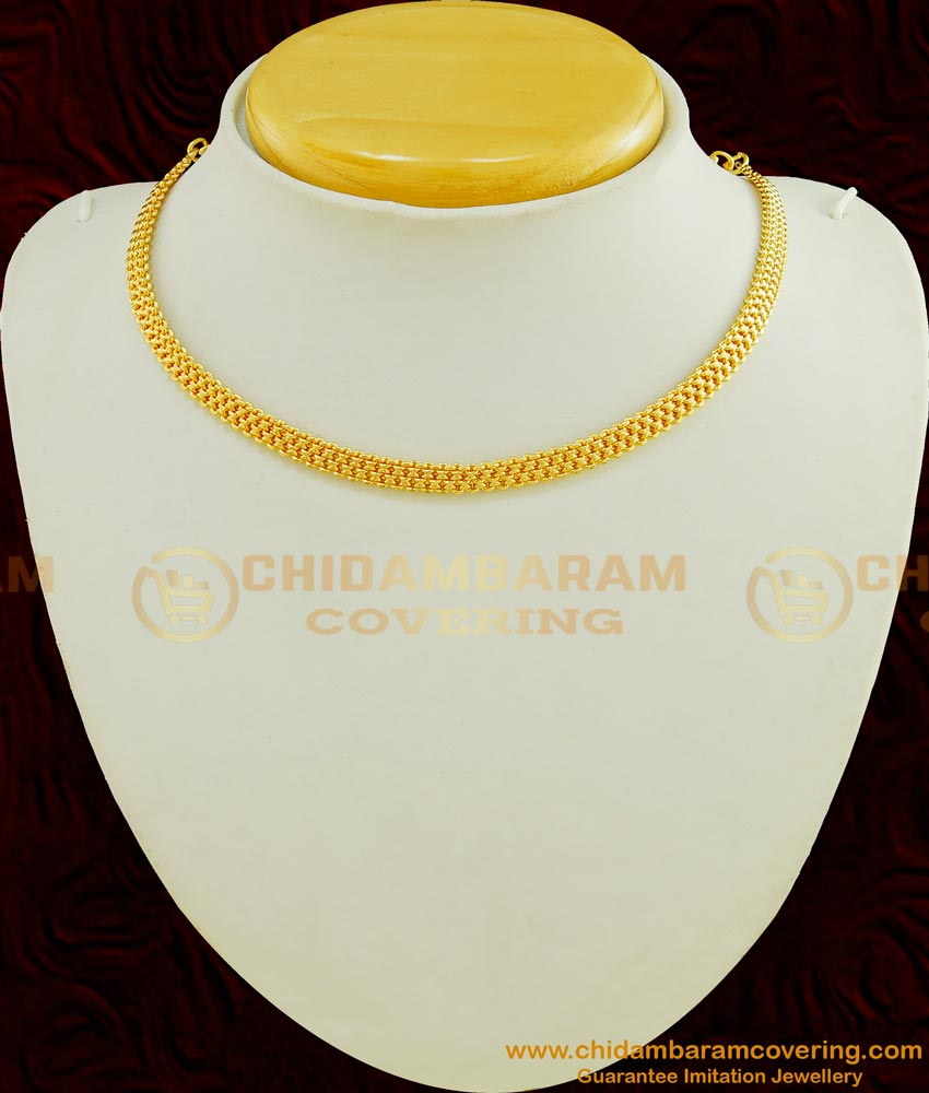 NLC454 - One Gram Gold Plated Short Plain Necklace Chain for Pendant