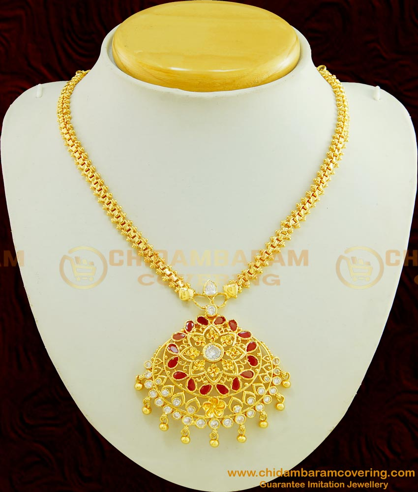 NLC455 - Trendy One Gram Gold High Quality AD Stone Designer Necklace for Women