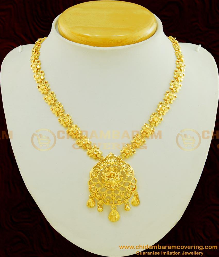 NLC457 - Traditional One Gram Gold Lakshmi Devi Gold Design Necklace for Wedding