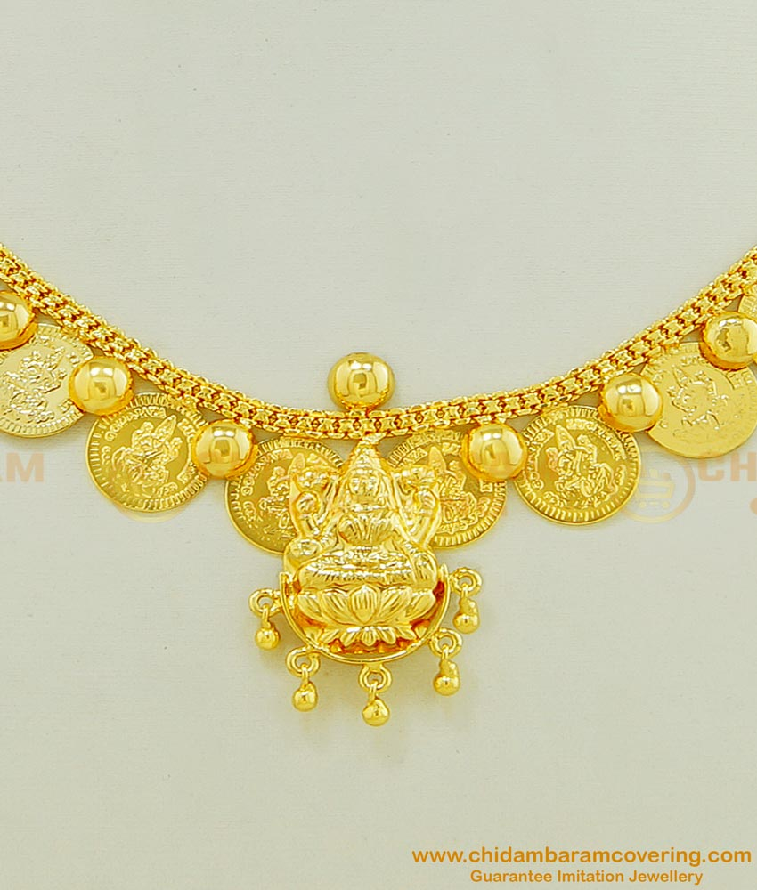 NLC460 - Latest Design Gold Plated Lakshmi Pendant with Gold Coin Necklace Designs Online
