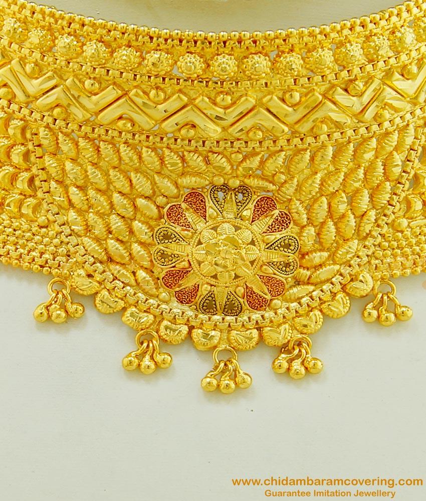 NLC494 - Bridal Wear One Gram Gold Enamel Flower Design Choker Necklace Indian Wedding Jewellery