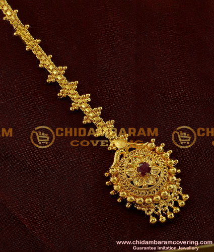 NCT010 - 1 Gm Gold Plated Beautiful Design Nethi Chutti / Maang Tikka with Gold Beads Buy Online