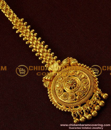 NCT019 - Gorgeous Gold Look Round Shape With Gold Balls Hanging Nethi Chutti For Wedding