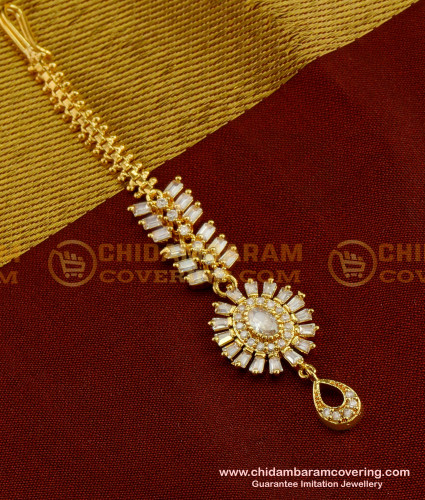 NCT035 - High Quality Full White Stone Floral Design Maang Tikka Designs