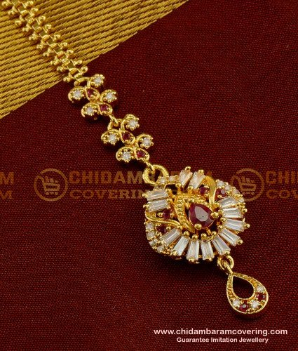 NCT038 - Gold Plated Full Stone Maang Tikka Designs for Girls