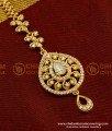 NCT045 - Latest One Gram Gold White Stone Maang Tikka Design for Every Girls