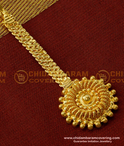 Nct048 - Indian Wedding Jewellery Small Size Maang Tikka for Front Puff Hairstyle
