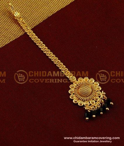 NCT055 - Beautiful Flower Black Crystal  Beads Hanging Design Forehead Piece / Maang Tikka