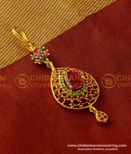 Nct065 - Indian Wedding Jewellery Small Size CZ Stone Maang Tikka for Front Puff Hairstyle