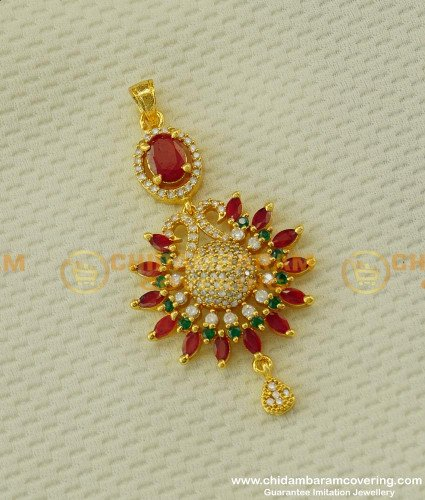 PND010 - Sparkling Stone Work Peacock Design Pendant Party Wear Collection