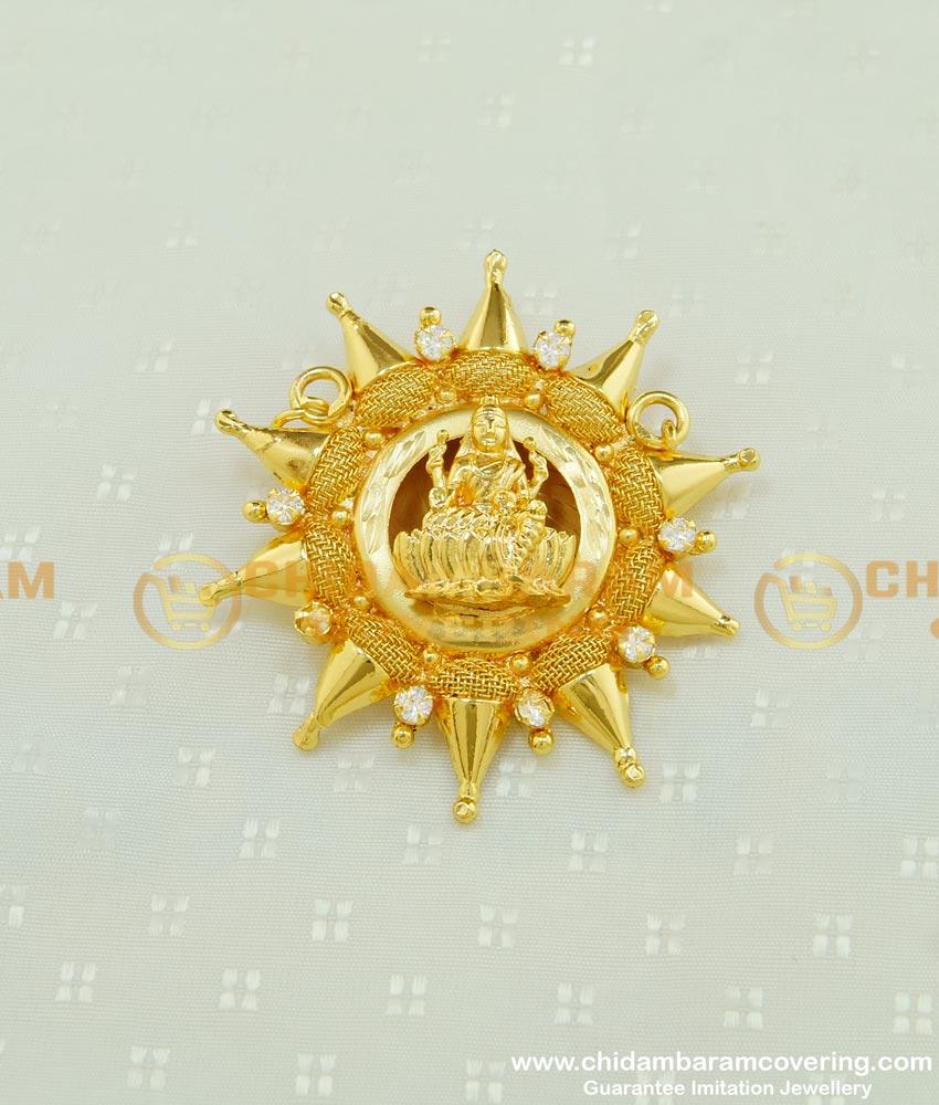 PND039 - Unique Ad Stone Lakshmi Pendant Buy Gold Covering Dollar for Female