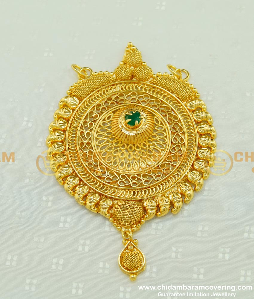 PND044 - Gold Look Emerald Stone Gold Plated Designer Large Gold Pendant Design for Long Chain