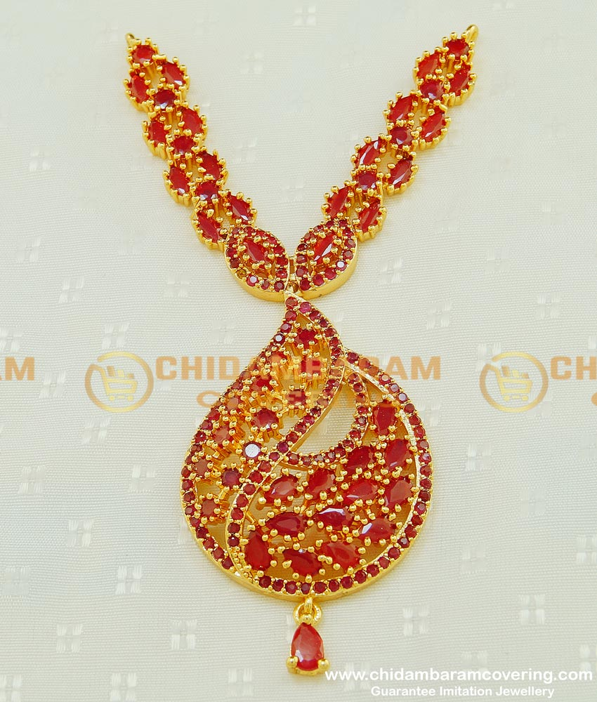 PND053 - One Gram Gold Party Wear Long Dollar Ruby Stone New Dollar Collections Buy Online Shopping