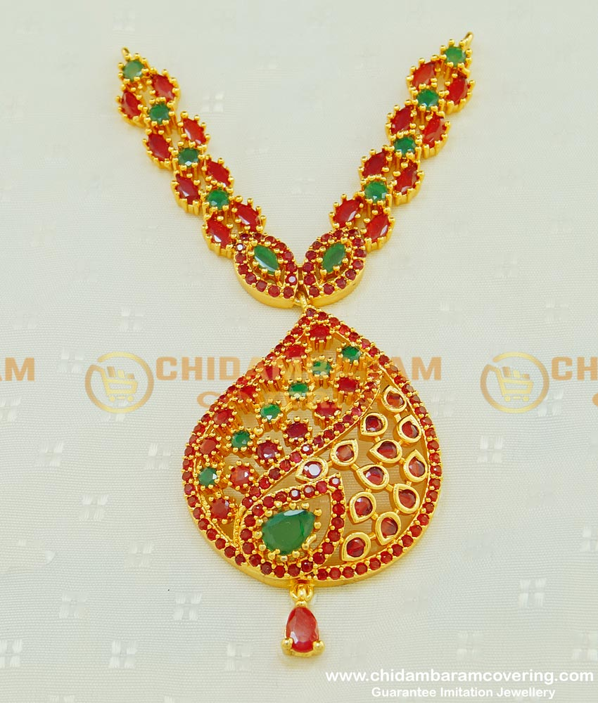 PND054 - Most Beautiful Multi Stone Long Pendant New Dollar Collections for Wedding