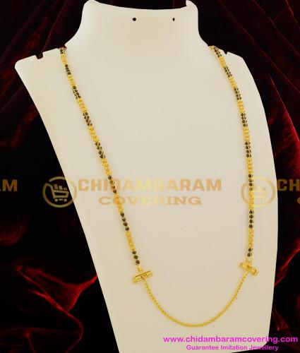 THN12-LG - 30 Inches Long Black Beads Model Mangalsutra Malaysian Thali Chain Online