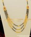 THN17 - Gold Look Black Beads 3 line Necklace / Karimani Mangalsutra Buy Online