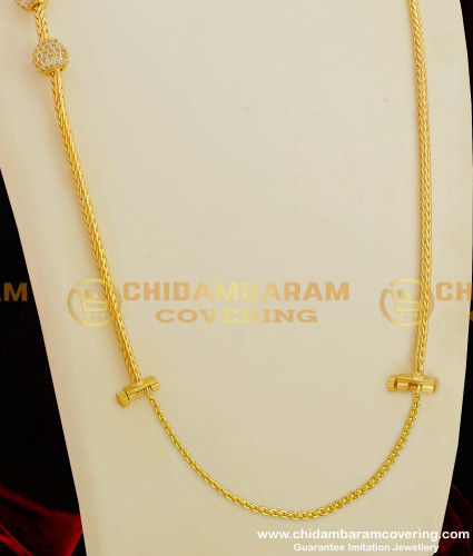 THN26-LG - 30 Inches Long White Stone Balls With Mugappu Chain with Screw Connector Buy Online